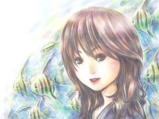 大阪の海遊館に感動して描いたイ