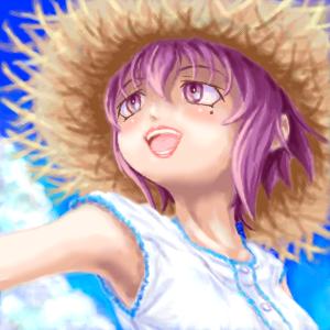 麦藁帽子と夏の空