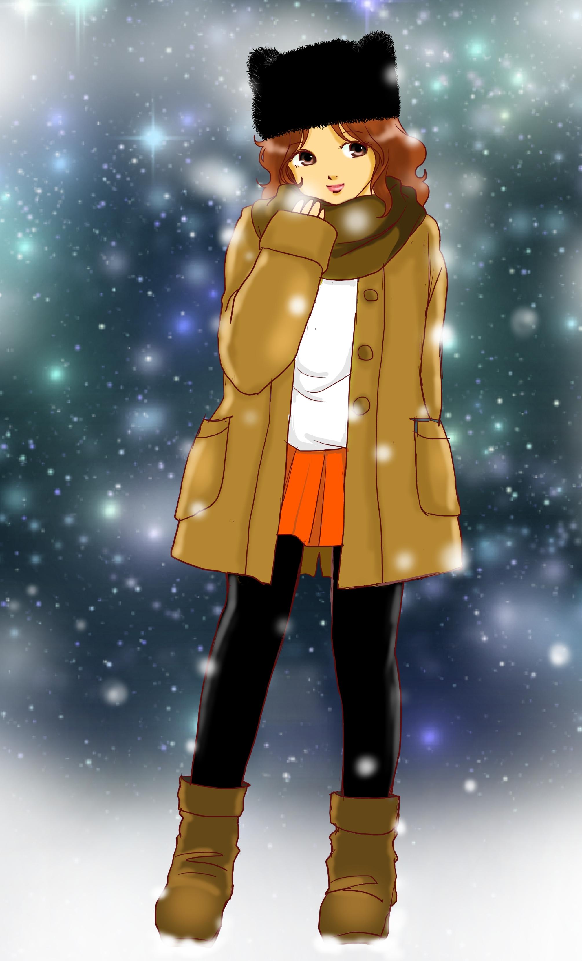 冬物を着た女の子
