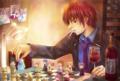 ワインを飲みながらチェスを楽し