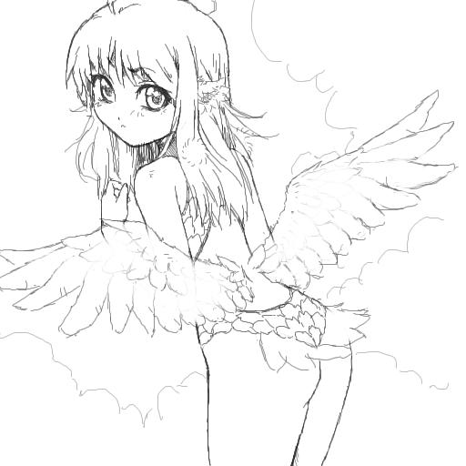 羽の付いた女の子