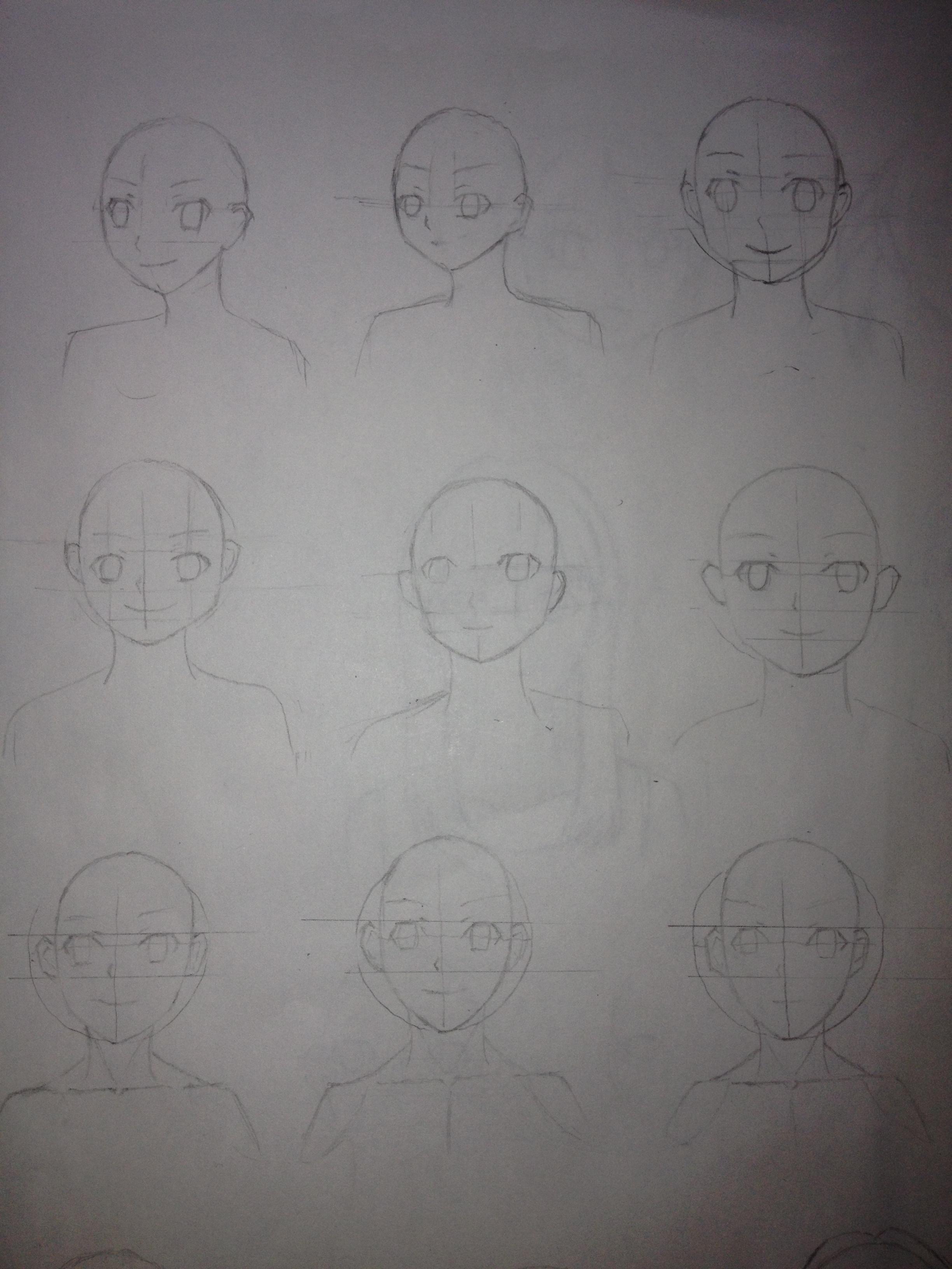 正面顔の練習