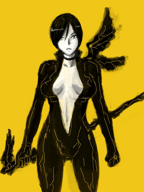 黒い翼を持つ女