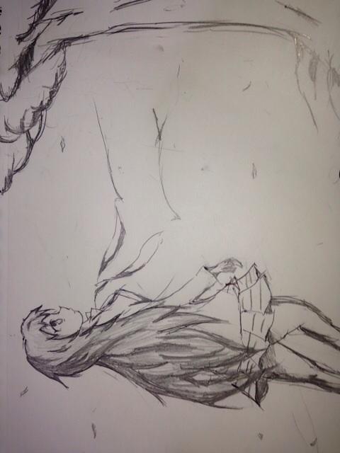練習絵 少女と木
