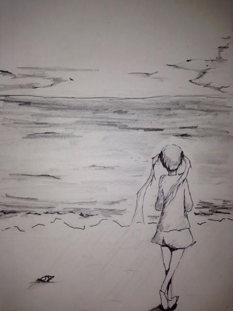 練習絵 海
