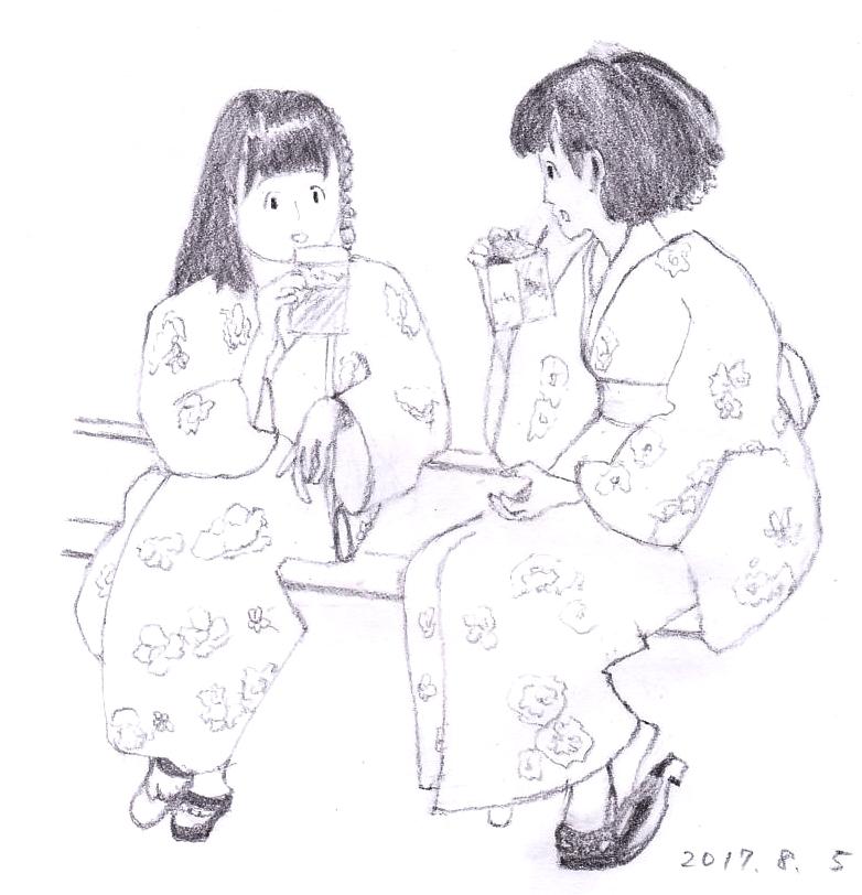 ゆかた少女2人