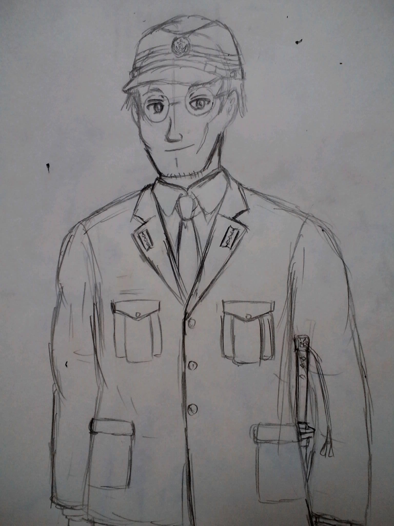 (下絵ですが)三種軍装の海崎大