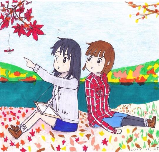 秋の湖畔で