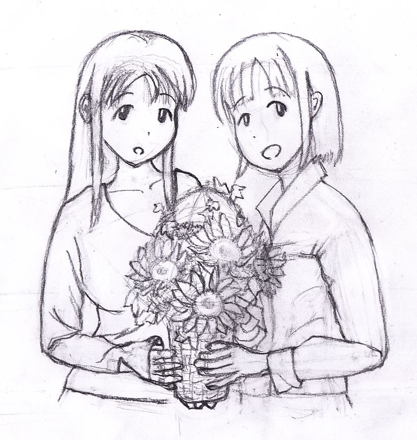 お花のプレゼント(下絵)
