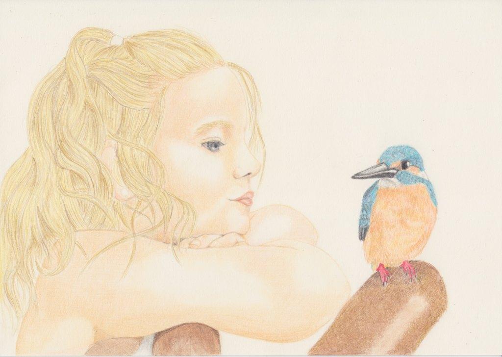 少女と小鳥