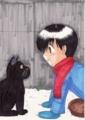 あきひろくんと黒い猫@冬