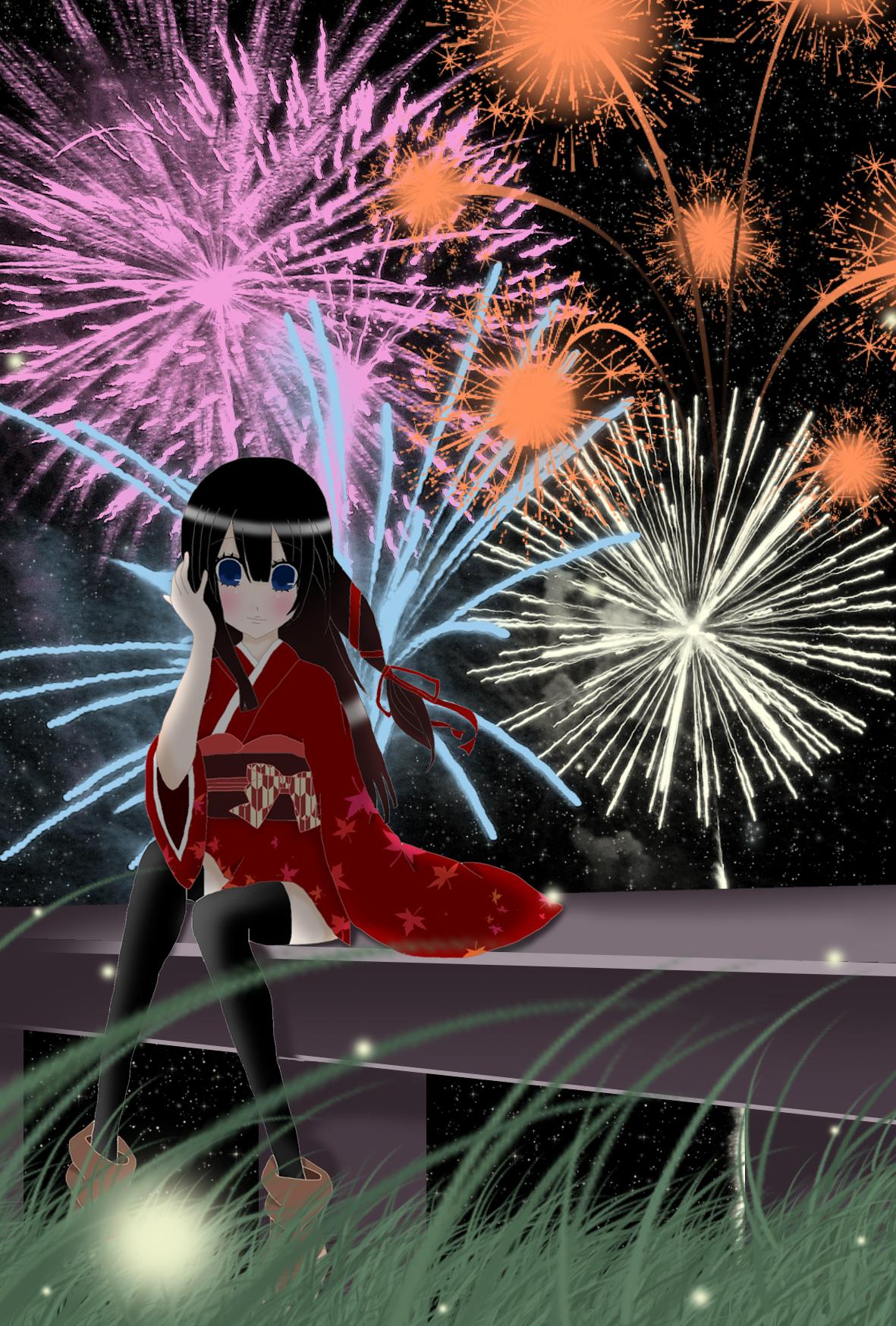 花火と着物